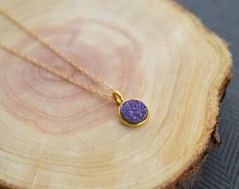 Petite Purple Druzy Necklace- Purple Druzy Necklace