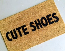 Cute Shoes - Hand-painted Coir Doormat by AfterInfinity