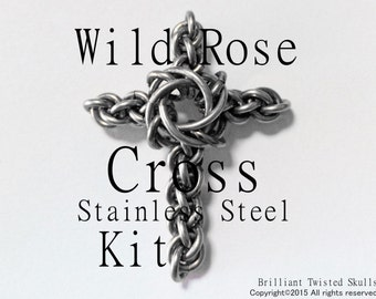 Pre-Order Kit (Does not inlcude Tutorial) in Stainless Steel for Wild Rose Cross Chain Maille Pendant