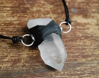 Large raw crystal choker. Sterling silver wire wrapped and leather bound quartz point necklace