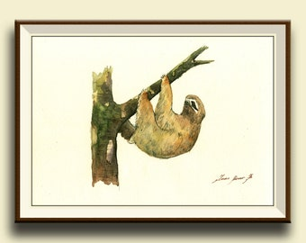 PRINT-Sloth animal - three toed sloth painting watercolor - Sloth art nursery forest animal decor - Art Print by Juan Bosco