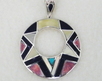 950 Sterling Silver Pendant with inlay stones