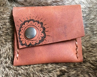 Leather Pouch - flower power
