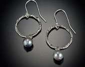 Hammered Sterling Silver Hoops with Akoya Pearls Recycled Metal