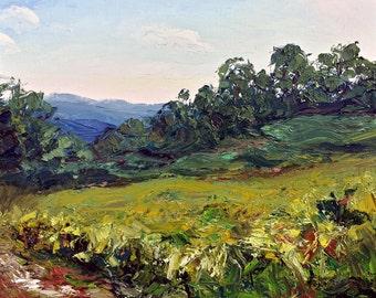 "Rocky Top Vista, 20x16"" Oil on canvas by Sean Bodley, Oil Landscape Painting, Vista Sky Palette Knife - Pennsylvania Nature Fine Artwork"