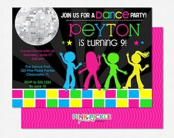 items similar to disco club invite or sweet 16 birthday party invitation disco ball invitation. Black Bedroom Furniture Sets. Home Design Ideas
