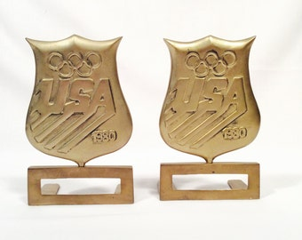 Olympic shield brass bookends, sports memorabilia, Olympic memorabilia, Brass bookends, Olympic bookends, Moscow Olympics, USA Soccer,
