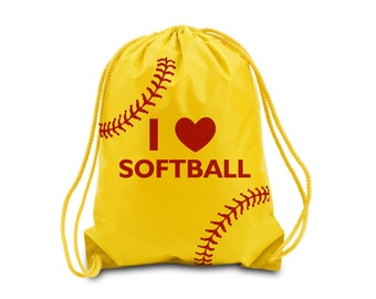 Personalized I Heart Softball Drawstring Bag Softball Drawstring Backpack. Choose your own colors.