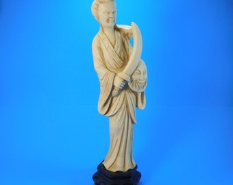 Vintage Asian Chinese Japanese Man Sword Shield Sculpture Figurine Faux Ivory Bone Carved Resin or Celluloid M-576 Made In Italy 13 Inches