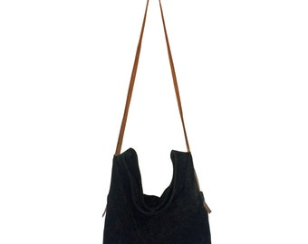 Marino Black Suede Slouchy Bucket Bag