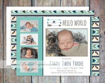 Baby Boy Birth Announcement-Tribal