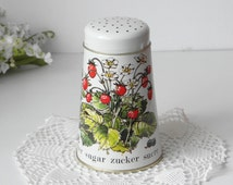 England Sugar Shaker 1950s tin can fruit decoration strawberry blueberries shabby country kitchen decorating from Timeless Gifts & More