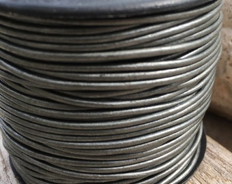 Grey metallic round leather cord, 1.5mm grey leather cord, pewter