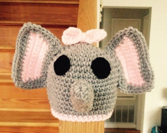 Crocheted Gray/Pink Elephant Baby Hat