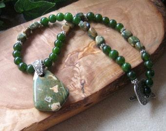 Rhyolite and Green Jade Gemstone Beaded Necklace, Handmade Necklace, Rainforest Jasper, OOAK One of a Kind