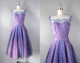 1950 Lace Dress indigo party dress!