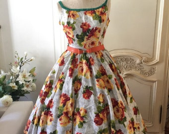 1950s vintage dress floral sundress orange madmen style