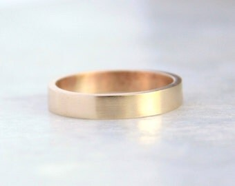 gold wedding ring // Solid 14k Yellow Gold wedding band // 4mm flat band // Shiny or Matte Finish // Eco Friendly Recycled Gold