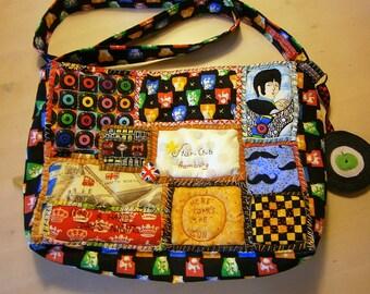 Beatles  shoulder bag, patchwork, Beatles fabric, Cranston VIP, handbag, Hamburg, London, Records,handmade