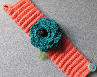 Crocheted Teal and Coral Rose Bracelet/Corsage/100% Cotton