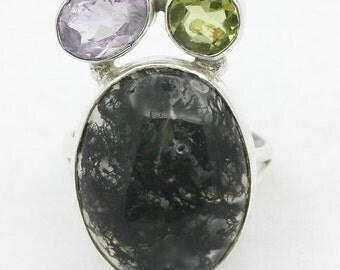New Green Ocean Jasper,Amethyst,Peridot 925 Sterling Silver Ring Jewelry S-4.5 A1559
