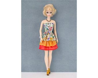 3 flounces dress for Barbie and Poppy