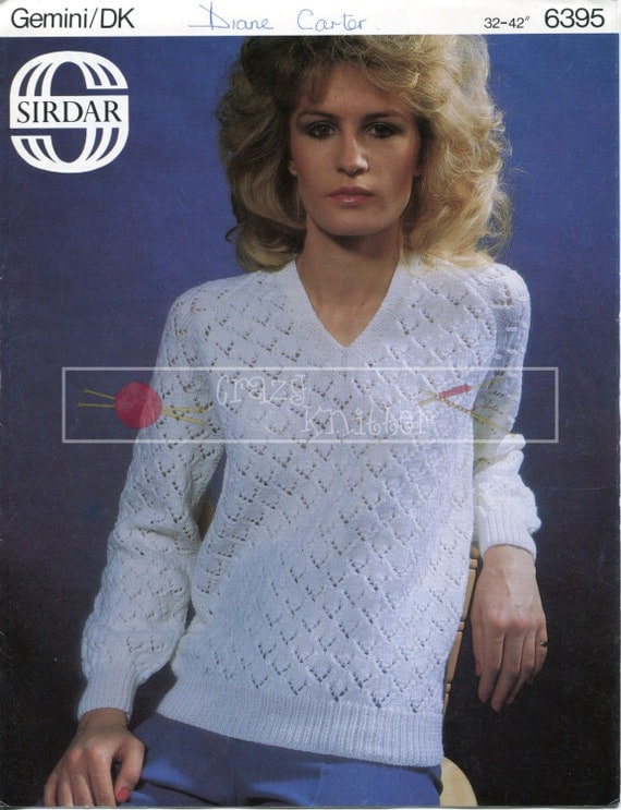 "Lady's Lace Sweater 32-42"" DK Sirdar 6395 Vintage Knitting Pattern PDF instant download"