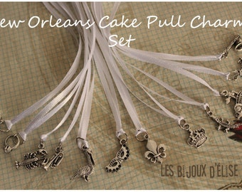 12 pcs New Orleans Wedding Cake Pull Charms Set - White Ribbons (CP01)