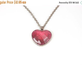 50% OFF Vintage Heart Necklace, 30 inch chain, Pink Heart Jewelry