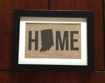 Indiana State - Home - Burlap in 5in x 7in Frame with Mat