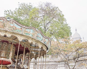 Paris photography, nursery decor, carousel,Paris,childrens room decor,Pastel photography,