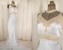 Vintage Nightgown - 1930s Bias Cut Lingerie Nightgown, 30s Steel Grey Rayon Slip Bridal Nightgown