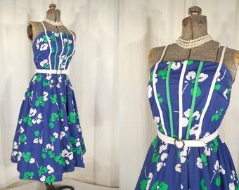 Vintage 1980s Dress - 1950s Style Floral Sun Dress, 1980s Blue Cotton Dress, 1950s Summer Dress