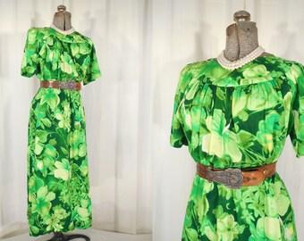 Vintage 1960s Dress - 60s Bright Green Dress, Hawaiian Dress, Tiki Maxi Dress Large