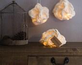 3 Lighting balls Crumpled White Lamp Night Suspension Light Felted wool LED battery-powered