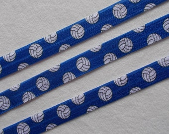 Blue Volleyball elastic ribbon-FOE …Great for making headbands for your team...75 cents per yard