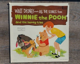 Winnie the Pooh and the Honey Tree Music by Sherman Record Vinyl LP 33 1965 Walt Disney Productions Disneyland DQ 1277 A A Milne USA