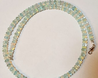 65.04ctw Aquamarine & White African Fire Opal with Larimar Sterling Silver Bead Necklace 16.25 inch