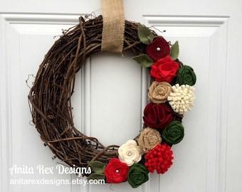 Christmas Wreath, Christmas Burlap Wreath, Burlap Christmas Wreath, Felt Flower Wreath, Christmas Decor, Handmade Christmas