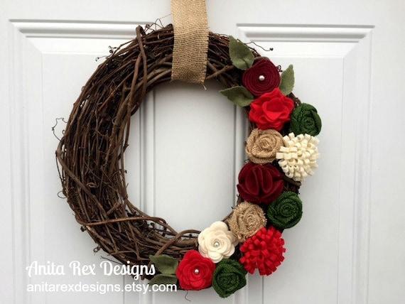 Christmas wreath christmas burlap wreath burlap christmas for Burlap christmas curtains
