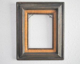 5 x 7 vintage bold natural distressed brown wood frame burlap cloth accent trim - Natural Wood Frame