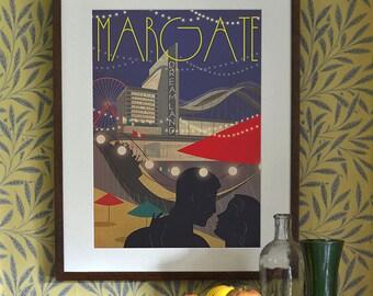 Original Design Art Deco A3 A2 A1 Margate Dreamland Seaside Beach Holiday Vintage Poster Print Bauhaus Vogue Couple Fairground Travel 1940's