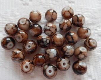 27  Dark Brown & White Splattered Round Ball Glass Beads  8mm
