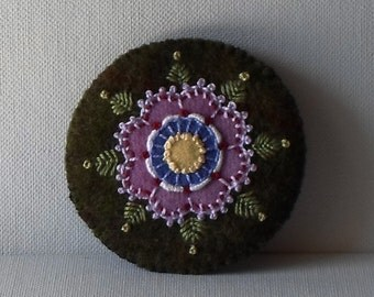 Hand Made Brooch Green Felted Wool with  Appliqued and Embroidered Purple Flower & Green Leaves