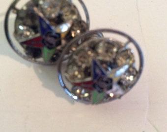 Masonic screw back earrings 1 in