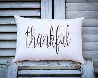 Thankful pillow, family pillow, home decor, small pillow, gratitude pillow, fabric pillow, burlap pillow 14x9 accent pillow