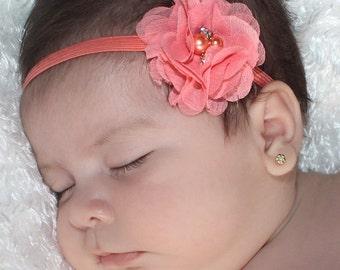 Baby Girl Headband, Flower Headband, Baby Headband, Peach Headbands, Headbands Coral, Infant Headbands, Newborn Headband, Baby Headbands