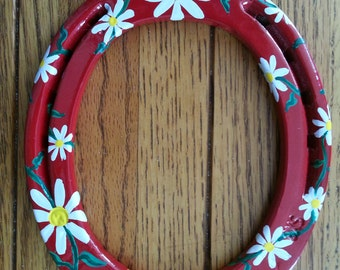 Custom Photo Frames from Recycled Horses with Hand Painted Daisies
