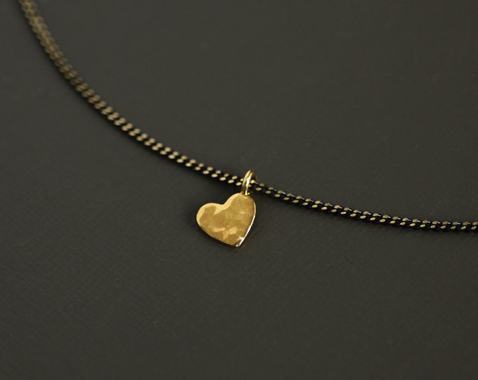 Gold Heart Choker Style Necklace on Brass Chain