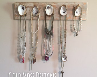 LARGE oyster necklace holder // jewelry organizer / necklace holder / organizer / oyster art